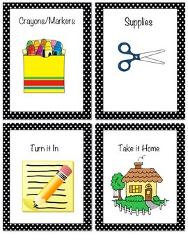 Assignment Details for Students Black and White Polka Dot