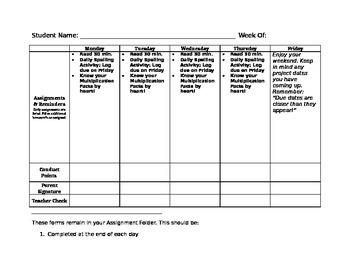 Assignment Folder Sheet