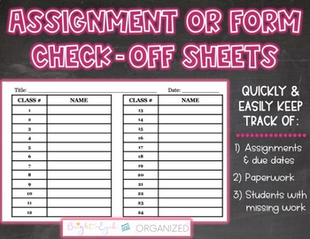 Assignment + Form Check Off Sheets 7 Templates Classroom Organization {Editable}