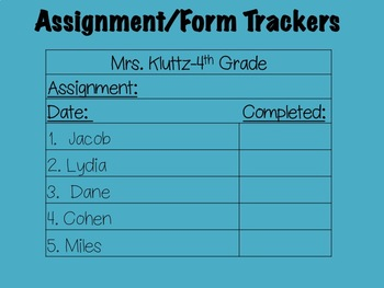 Assignment/Form Recording Form