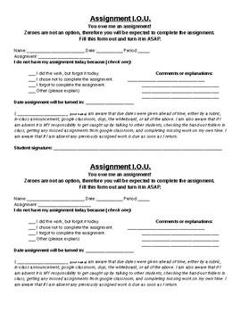 Assignment I.O.U. - Missing Work Slip
