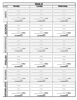 Assignment Notebook/ Daily Planner template- Perfect for Middle School!