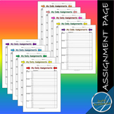 Weekly Assignment Sheet in Color Bundle