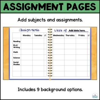 Assignment Planner Pages for use with Google Slides