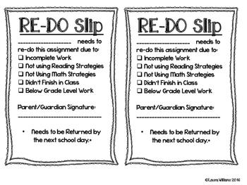 Assignment Re-Do Slips