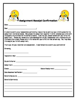 Assignment Receipt Parent Confirmation