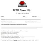 Assignment Redo Cover Slip (Both Digital & Paper versions)