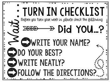 Assignment Redo Slips & Turn in Checklist Poster