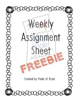 Assignment Sheet {FREEBIE}