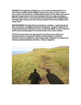 Assignment Sheet: Writing About Place (Narrative/Descripti