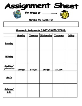 Assignment Sheet for Student Work and Homework