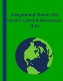 Assignment Sheets For Earth's Crust and Resources Unit