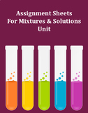 Assignment Sheets For Mixtures and Solutions Unit