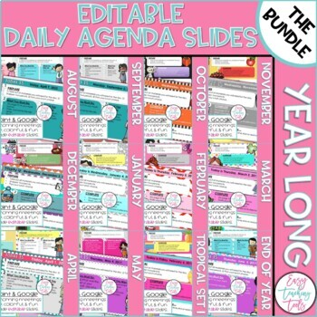Morning Message Assignment Slides Year Long Bundle Distance Learning  (Editable)