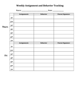 Assignment and Behavior Tracking Weekly with Parent Signature