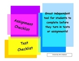 Assignment and Test Student Check List
