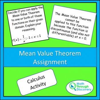 Calculus:  Mean Value Theorem Assignment