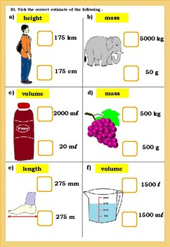 Assignment on Measurement (metric units) - Yr 4(Key Stage)