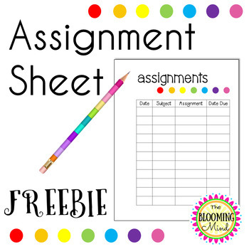 Assignment Checklist FREEBIE