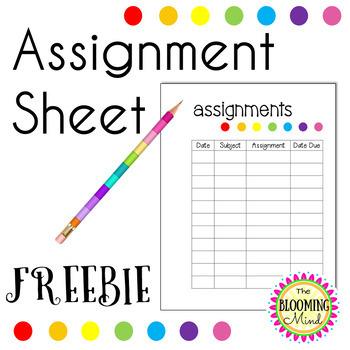 FREE Assignment Sheet