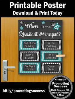 Assistant Principal Office Decor, Back to School Door Sign, Teal & Black