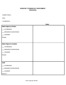 Assistive Technology - AAC - Assessment Protocol - Editable