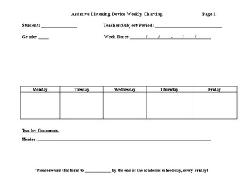 Assistive Technology Weekly Teacher Charting Form