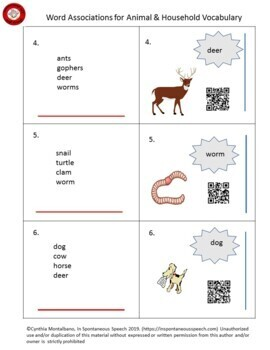 Association Task Cards for Animal and Household Vocabulary