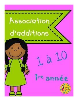 Association d'additions 1 à 10 - 1re année