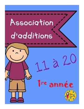 Association d'additions 11 à 20 - 1re année