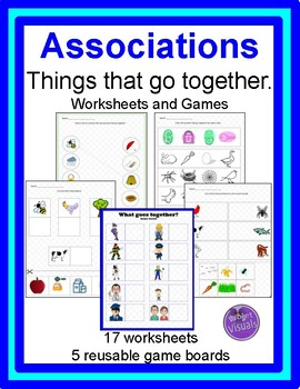Associations, things that go together, worksheets and games