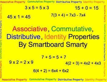 Associative, Commutative, Distributive, Identity Property - Smartboard