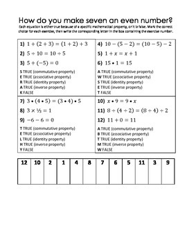 Associative, Commutative, Identity, Inverse Properties Puzzle