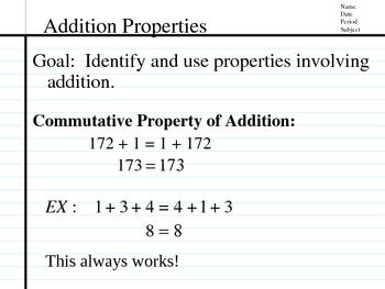 Associative & Commutative Properties, Terms