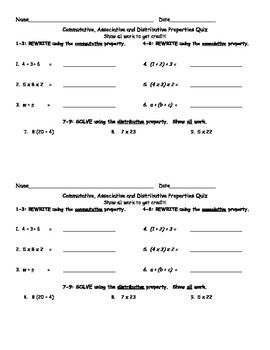 Associative, Commutative and Distributive Properties Quiz