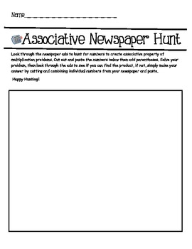 Associative Newspaper Hunt- An Associative Property Freebie!!
