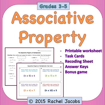 Associative Property Task Cards and Printables