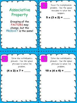 Associative Property Multiplication Task Cards and Activities Bundle TEK 3.5