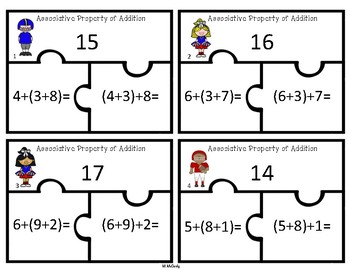 Associative Property of Addition 3 Piece Puzzles