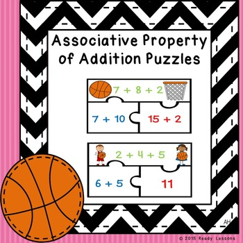 Associative Property of Addition Game 1st Grade Math Center Puzzles 1.OA.3
