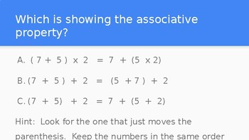 Associative Property of Addition and Multiplication - Powerpoint Lesson