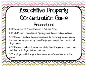 Associative Property of Multiplication Concentration (Matching) Game