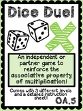 Associative Property of Multiplication Game - Dice Duel! (Leveled)