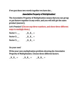 Associative Property of Multiplication Lesson with Leveled Homework