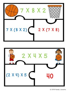 Associative Property of Multiplication Game 3rd Grade Math Center Puzzles 3.OA.5