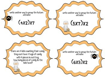 Associative Property of Multiplication Task Cards (Halloween Theme)