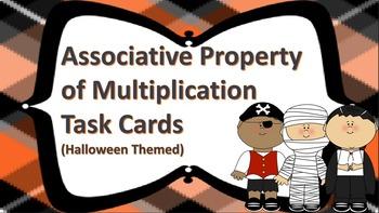 Associative Property of Multiplication Task Cards {{Halloween Themed}}