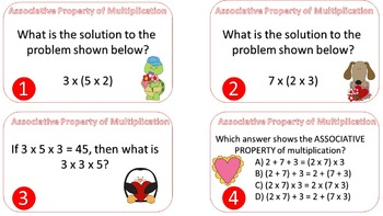Associative Property of Multiplication Task Cards {Valentine's Day Themed}