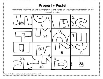Associative and Commutative Property Cut and Paste Mystery Picture (3.OA.B.5)