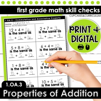 Associative and Commutative Property - First Grade Print and Go
